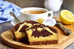 Pumpkin and chocolate cake with cup of tea. Stock Image