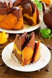 Pumpkin chocolate cake Royalty Free Stock Photography