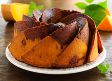 Pumpkin chocolate cake Royalty Free Stock Image
