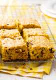 Pumpkin Chocolate Chip Oatmeal Bars. Selective focus royalty free stock image