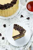 Pumpkin and chocolate layer cake with salted caramel cream chees Royalty Free Stock Images