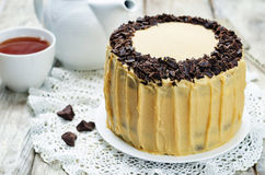 Pumpkin and chocolate layer cake with salted caramel cream chees Royalty Free Stock Photography