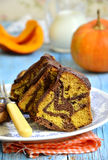 Pumpkin and chocolate marble cake. Stock Photo