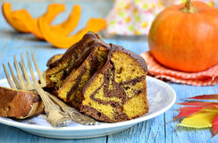Pumpkin and chocolate marble cake. Stock Photos