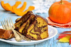 Pumpkin and chocolate marble cake. Royalty Free Stock Photos