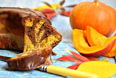 Pumpkin and chocolate marble cake. Stock Photography