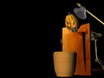 Pumpkin Chop. Pumpkin on the chopping block. Happy Halloween royalty free illustration