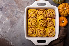 Pumpkin cinnamon rolls with chocolate Royalty Free Stock Images