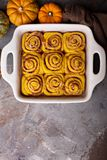 Pumpkin cinnamon rolls with chocolate Royalty Free Stock Photo