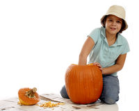 Pumpkin Cleaning Royalty Free Stock Photography