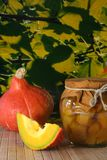 Pumpkin compote. Sweet-sour pickled pumpkin compote with fresh pumpkin Royalty Free Stock Photo