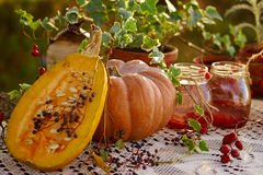 Pumpkin and compote Royalty Free Stock Photos