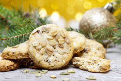 Pumpkin cookies in christmas setting Royalty Free Stock Photo