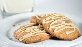 Pumpkin cookies and a glass of milk Stock Photo