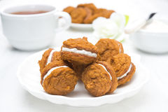 Pumpkin Cookies With Cream Filling Stock Images