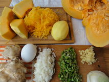 Pumpkin cooking vegetarian. With vegetables, ginger onion, healthy food stock photography