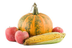 Pumpkin, corn and apples. Shot over white Royalty Free Stock Images