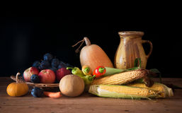 Pumpkin, corn and fruit Royalty Free Stock Photography