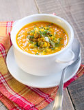 Pumpkin and corn soup Stock Photography