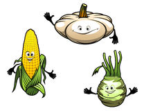 Pumpkin, corn and turnip cartoon vegetables Royalty Free Stock Image