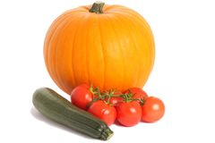 Pumpkin, courgette and tomatoes. Group of vegetables (pumpkin, tomatoes, courgette) isolated on the white background Royalty Free Stock Images