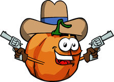 Pumpkin cowboy with gun Stock Photo