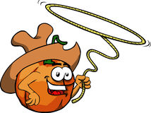 Pumpkin cowboy with lasso Stock Image