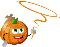 Pumpkin cowboy with lasso Royalty Free Stock Images