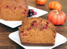 Pumpkin Cranberry Bread, sliced and whole. Stock Photo