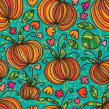 Pumpkin crazy line seamless pattern Royalty Free Stock Photos