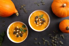 Pumpkin cream in bowls. royalty free stock photos