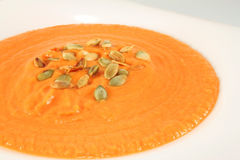 Pumpkin cream soup Stock Images
