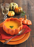 Pumpkin cream soup Stock Photos