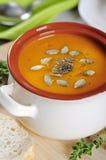 Pumpkin cream soup Stock Photos