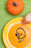 Pumpkin cream soup with bread Stock Images