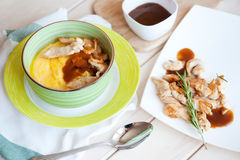 Pumpkin cream soup with chicken Royalty Free Stock Photo