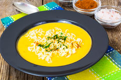 Pumpkin cream soup with Chinese noodles Stock Photography