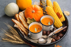 Pumpkin cream soup Royalty Free Stock Images