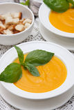 Pumpkin cream soup with croutons Stock Photography