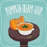 Pumpkin cream soup with fresh cut pumpkin. Deep plate with hot pumpkin cream soup on round wooden table with fresh cut pumpkin. Realistic hand draw style Royalty Free Stock Photography