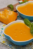 Pumpkin cream soup Stock Photo