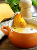 Pumpkin cream soup with pieces roasted pumpkin Stock Image