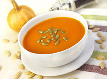 Pumpkin cream soup with pumpkin seeds Royalty Free Stock Photography