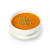 Pumpkin cream soup with pumpkin seeds Royalty Free Stock Image