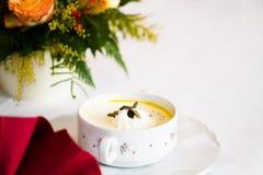Pumpkin cream soup. In a restaurant Stock Photos