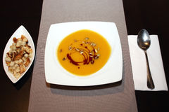 Pumpkin cream soup Stock Images