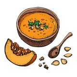 Pumpkin Cream Soup Vector Drawing Set. Isolated Hand Drawn Bowl Of Soup, Sliced Piece Of Pumpkin And Seeds. Vegetable Royalty Free Stock Image