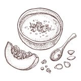 Pumpkin Cream Soup Vector Drawing Set. Isolated Hand Drawn Bowl Of Soup, Sliced Piece Of Pumpkin And Seeds. Vegetable Dotty Style Stock Image