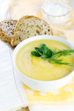 Pumpkin cream soup in white bowl Stock Photos