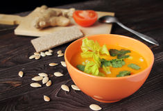 Pumpkin cream soup Royalty Free Stock Photography